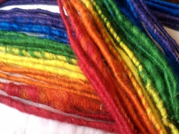 Double Rainbow - corespun art yarn handspun gradient, 2 matched skeins, super bulky, 80yds total, 100% wool