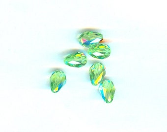 6 Pieces Swarovski Crystal Teardrop Peridot AB 9x6mm