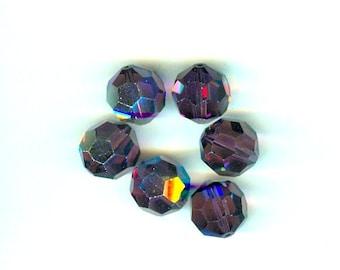 6 Pieces Swarovski Crystal Round Amethyst AB 14mm