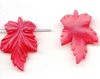 Acrylic Leaf Pendants Matte Red Pair Frosty Vintage Detailed Leaves