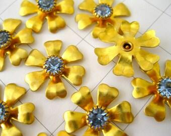 Crystal & brass flowers brass findings Light Sapphire crystal brass flower 10 - embellishments jewelry supplies -  18mm  crystal brass