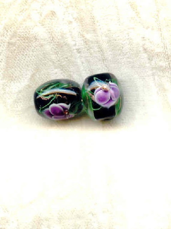 Lampwork Beads Black with Lilac Pansies 12x14mm Barrels - 2 Pieces