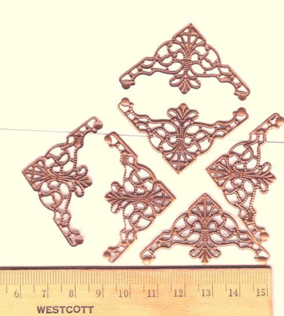 Antiqued copper plated filigree-  jewelry findings supplies - Corner shape - metal lace- lacy bendable wrapping delicate filigree findings