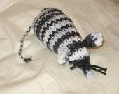 Zebra Knit Catnip Mouse