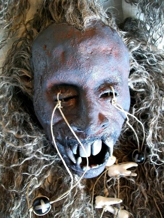 Shrunken Head of a Voodoo Vampire / Vampire art / Shrunken Head / Item RESERVED for Mark Frierson