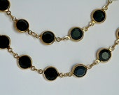 vintage Swarovski black crystal and 12K plated long chain