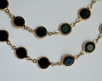 vintage Swarovski black crystal and 12K plated long chain