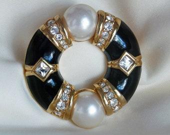 signed Swarovski crystals enamel and faux pearls brooch