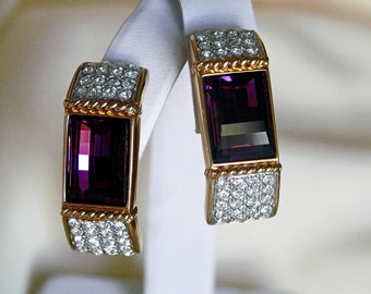 signed Swarovski large purple and clear crystal earrings