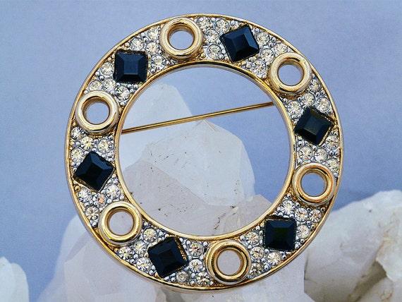 Gem-Craft 10K pave rhinestone and enamel circle brooch
