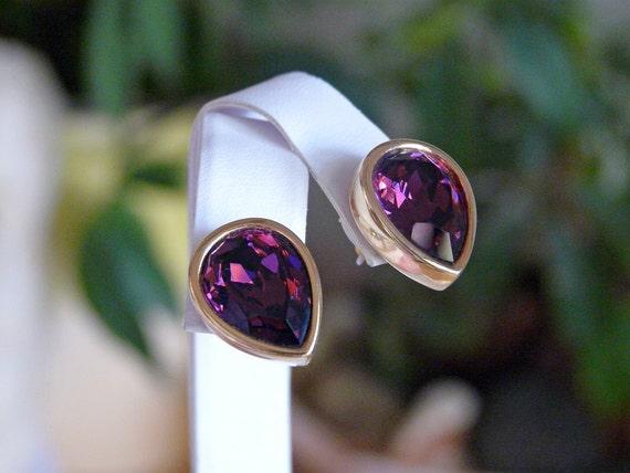 signed Swarovski purple pear shaped earrings in 12K plated gold