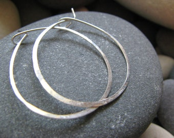 Hammered Sterling Silver Hoop Earrings. 2 inches wide 50mm