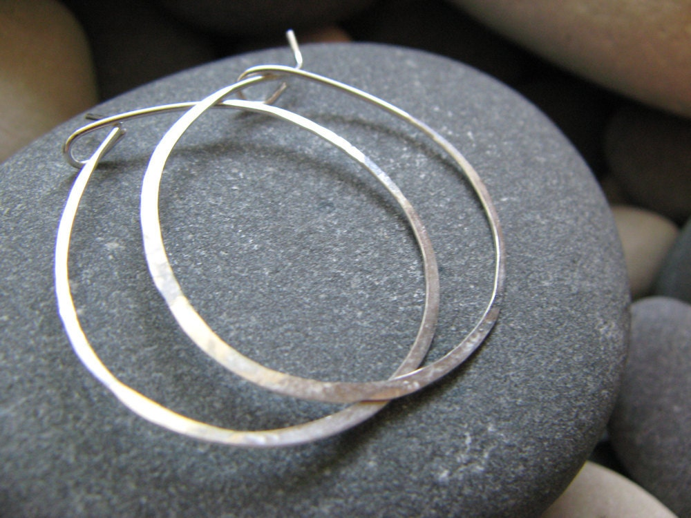 Hammered Sterling Silver Hoop Earrings 2 3 4 Inches Wide 65mm