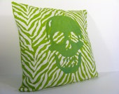 Decorative Zebra Pillow Cover, Lime Green Zebra with Green Embroidered Skull, 16 x 16 inch