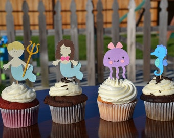 Mermaid cupcake toppers