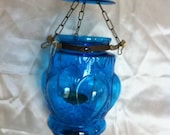 blue glass cage chandelier  hand made in india.