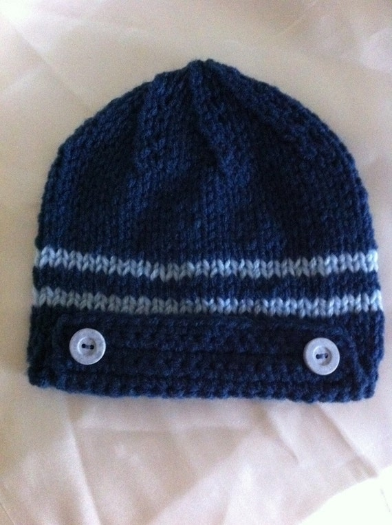 baby boy hat size 1 to 4 months old baby / blue hat READY TO SHIP