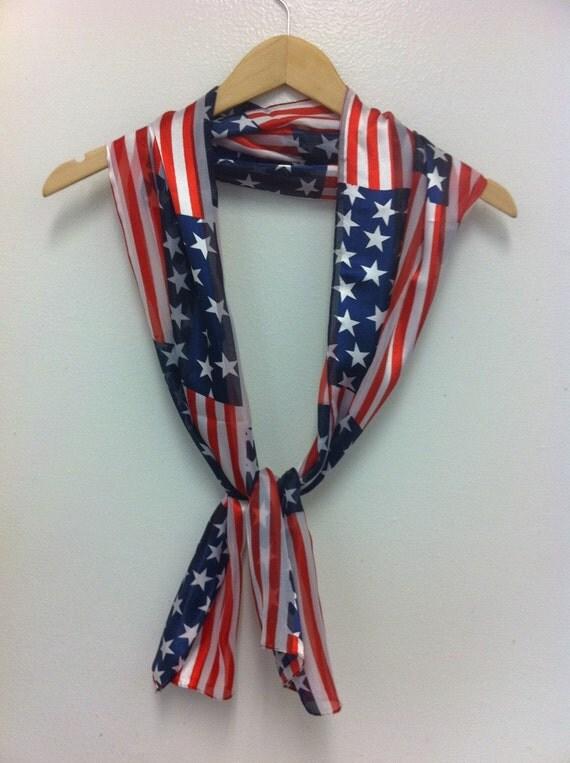 patriotic scarf / july 4th scarf / silk flag scarf / unisex adult scarf READY TO SHIP