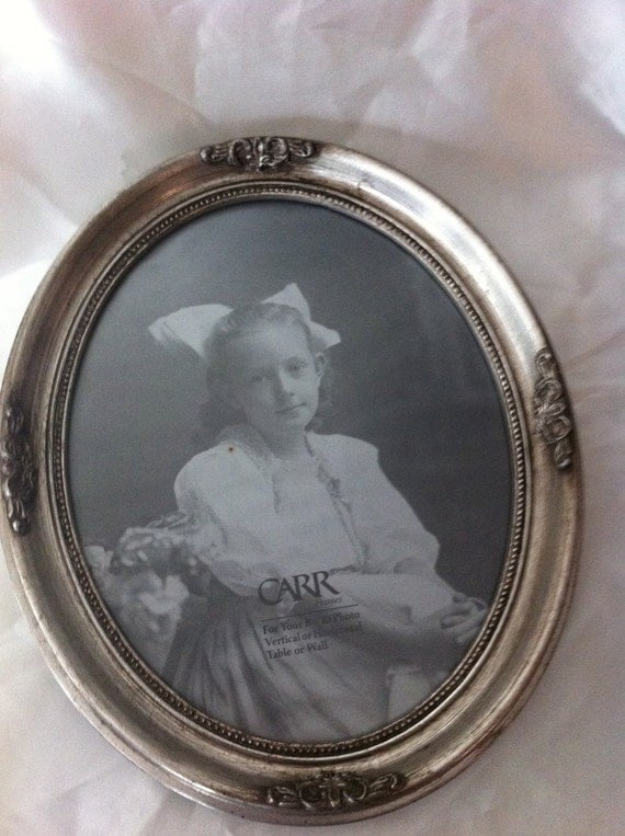 Rustic Chic silver Oval Picture Frame. Large Antique silver  Frame. Shabby Chic Frames 12x10 Inch