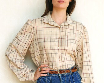 """Vintage checkered shirt, small medium - beige red and grey . . . . . . """"Like"""" our fb page for 10% discount"""
