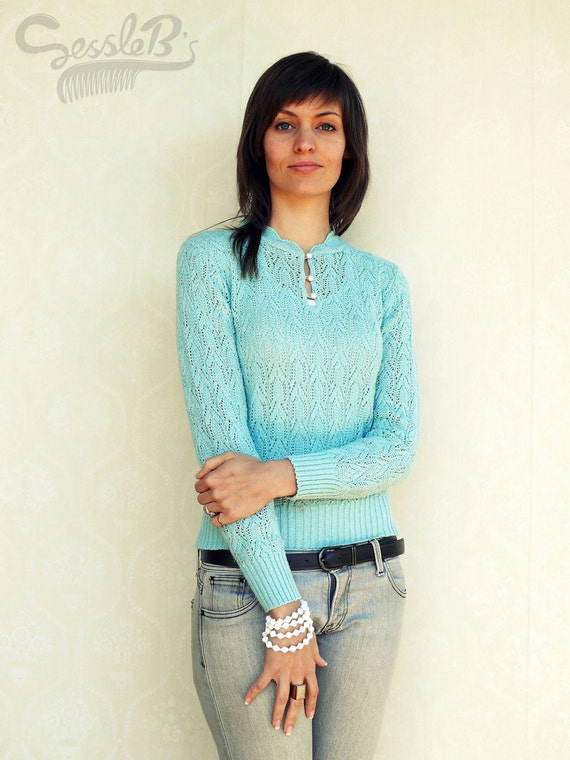 """Delicate vintage pullover/sweater, small - fairyfloss blue . . . . . . . """"Like"""" our fb page for 10% discount"""
