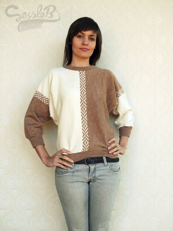 """Vintage batwing pullover/sweater, small medium - coffee and cream . . . . . . . """"Like"""" our fb page for 10% discount"""