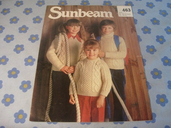Sunbeam Knitting Patterns : Sunbeam ARAN KNITTING PATTERN for childrens by HoushamAntiques