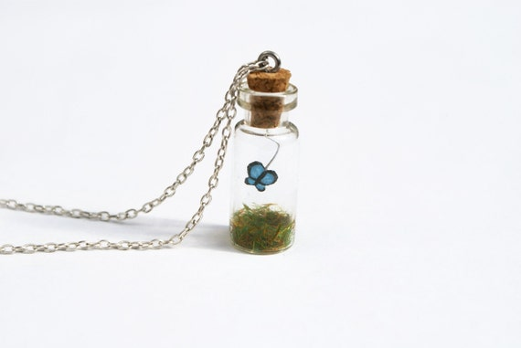 Butterfly Jar Necklace, Blue, glass bottle with grass on a 16 inch chain