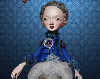 Fantasy Interior Art doll SOPHIE / OOAK. Royal blue Jacket embroidered vivid glass beads.