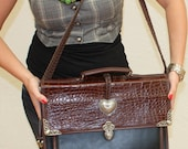 Vintage Brighton Style, Faux Alligator, Silver Accents Briefcase. Vintage Finds by CateyeCollectibles on Etsy