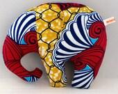 Plush ELEPHANT toy, YELLOW BATIK fabric