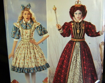Alice in Wonderland and Queen of Hearts Costume for women ... Sizes 6,8,10,12...uncut...Simplicity 0411