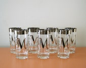 "Vintage Silver-Band Highball Glasses, ""M"" Monogram, Dorothy Thorpe"