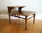 RESERVED FOR MELANIE - Mid Century Lane Two Tier End Table, Acclaim Series by Andres Bus, Dovetail Detailing