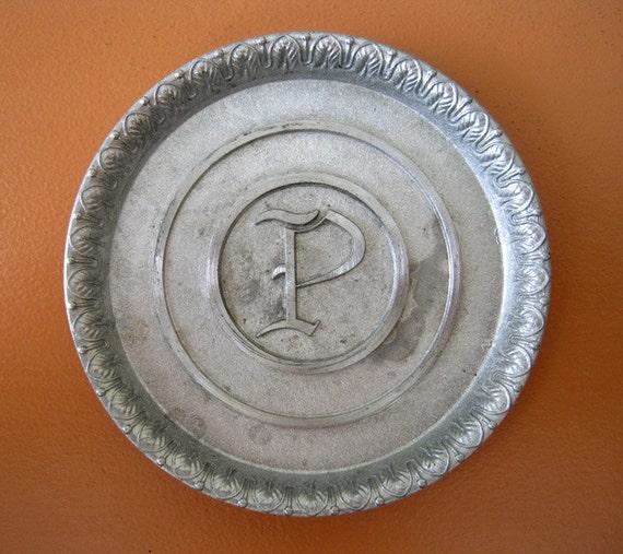 """Aluminum Monogramed Coasters, Initial """"P"""", Set of 8"""