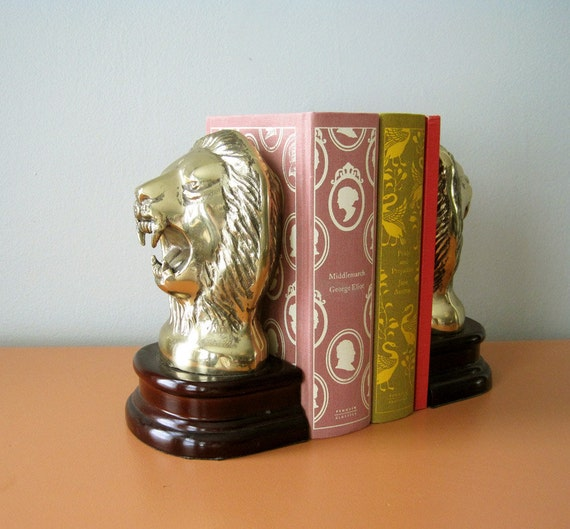 Hollywood Regency Brass Lion Head Bookends