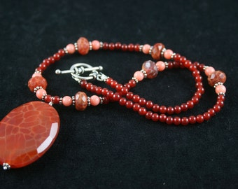 Faceted Carnelian Necklace with Peach Coral Accents