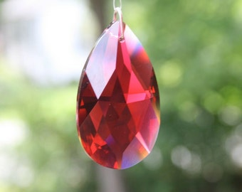 Swarovski Crystal Suncatcher with Ruby Red Teardrop