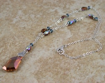 Sterling Silver and Swarovski Crystal Copper Necklace