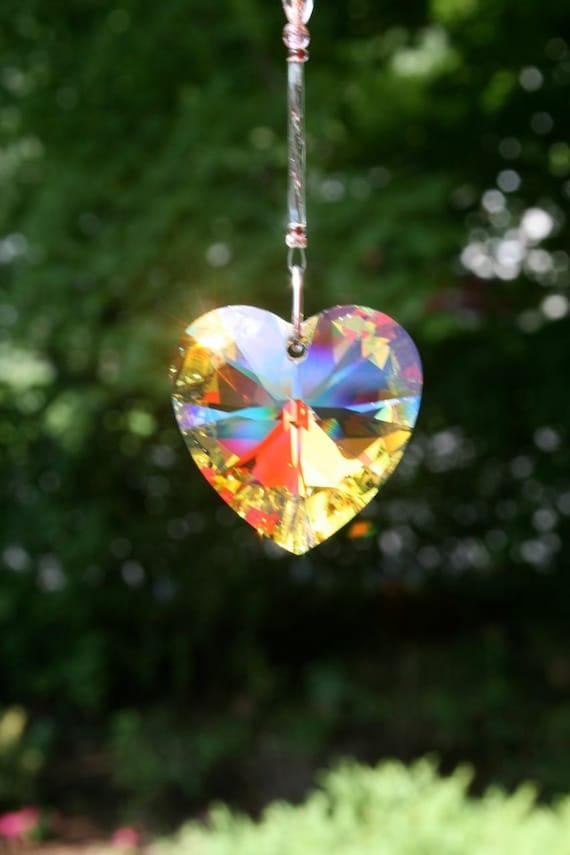 Swarovski Crystal Aurora Borealis Heart Suncatcher