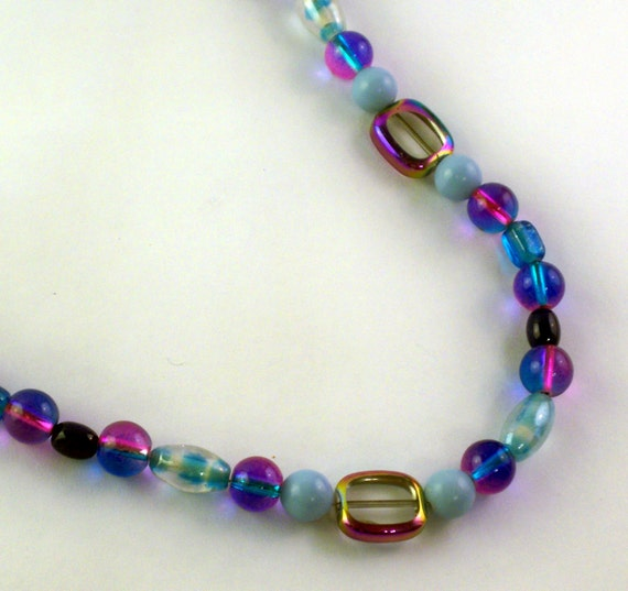 Blue and Pink Beaded Necklace