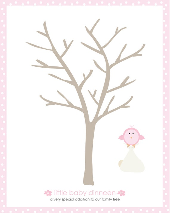 baby shower little bird thumbprint tree guestbook 16x20 best fo