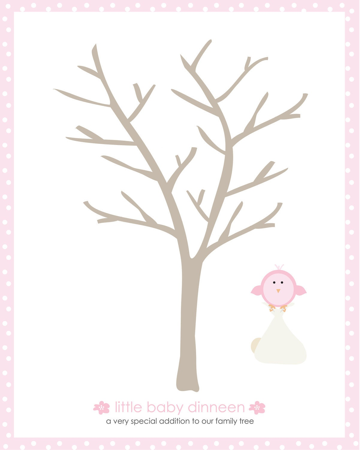 Baby Shower Little Bird Thumbprint Tree By Flyingclementine
