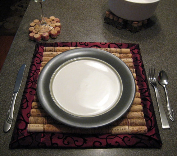Handmade, upcycled wine cork placemats or chargers (set of 4)