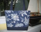 Large Blue and beige floral tote bag