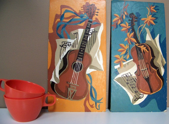 Vintage Paint by Number Guitar and Violin Wall Art Duo