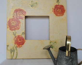 Rustic Shabby Chic Wooden Decoupaged Picture Frame Orange Ranunculus
