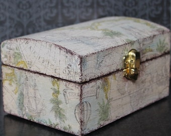 Memory/Keepsake Decoupaged Shabby Chic Wooden Nautical Gift Box For Him Map of The World MADE TO ORDER