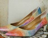 SALE Lizard Rainbow Dressy Heels Upcycled White and Gold US Size 5.5 M Uk 3 Europe 35.5 Special Occasion Colorful Ooak