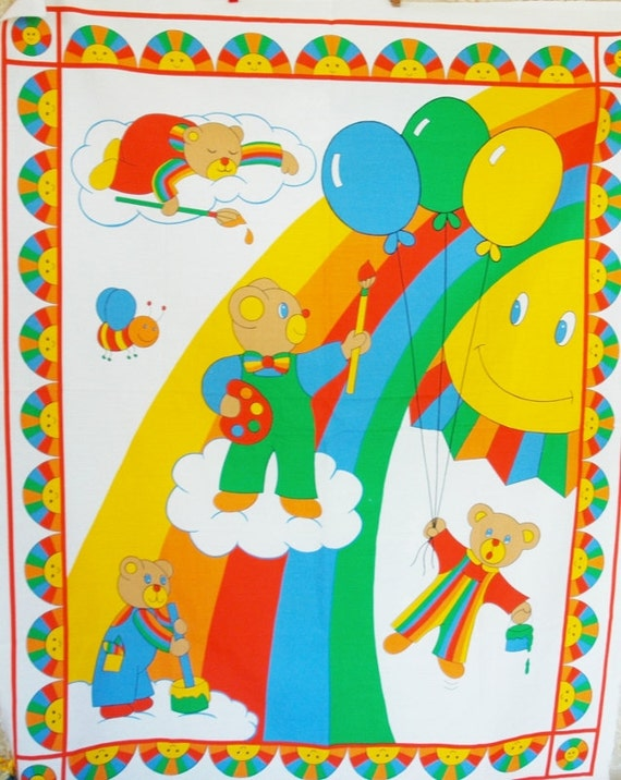 Rainbow Bears Painting a Rainbow with the Happy Sun Watching Baby Quilt Panel Painting Sleeping Balloon Flying Kawaii Retro 1980s